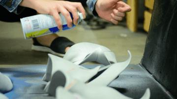 Cosplayer sealing L200 foam with Plasti Dip paint