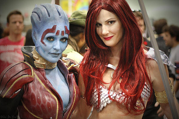 Cosplayers in body paint
