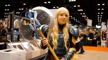 Astrid cosplay holding axe made of insulation foam